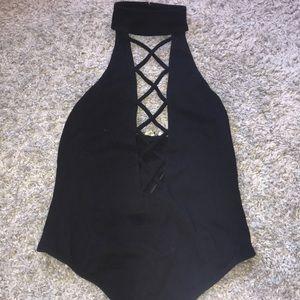 Black halter deep-v bodysuit